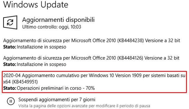 Windows 10, l'aggiornamento KB4549951