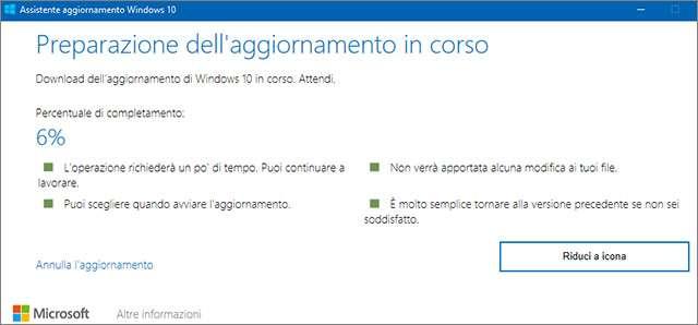 L'assistente aggiornamento di Windows 10