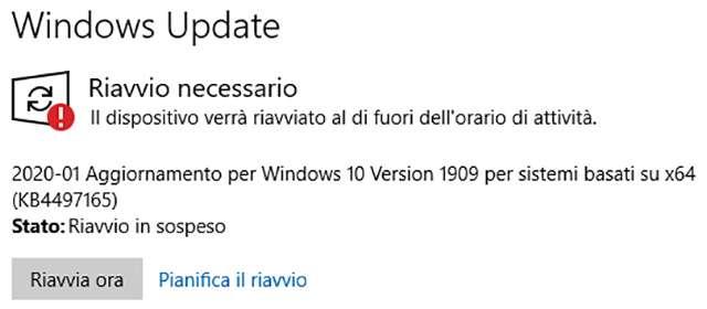 L'aggiornamento KB4497165 per Windows 10