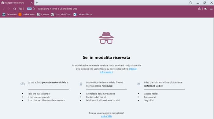 Opera offre una delle VPN gratuite più semplici da utilizzare