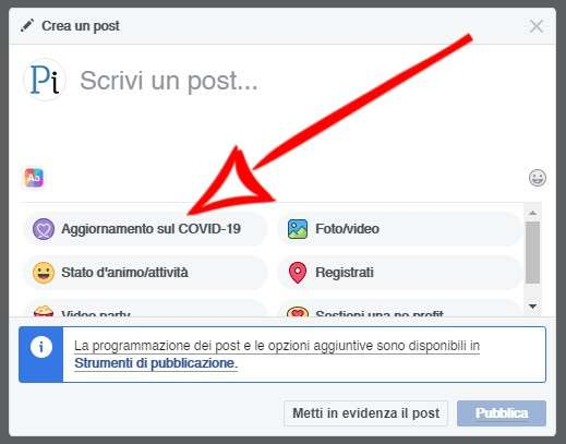 Aggiornamento sul Covid-19 su Facebook