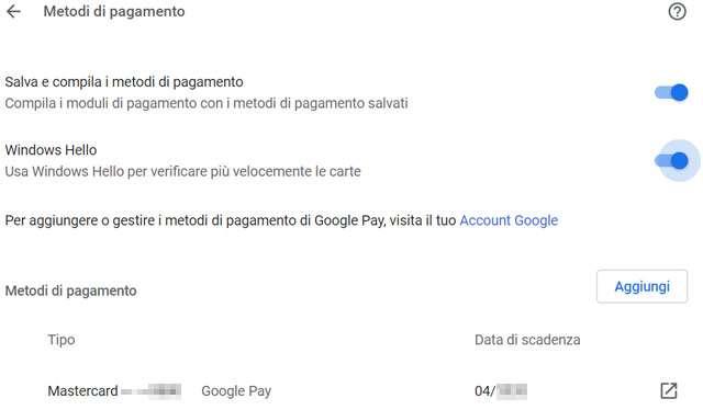 Il riconoscimento biometrico di Windows Hello per i pagamenti con Chrome