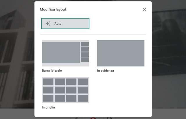 Google Meet: il layout per l'interfaccia delle videochiamate