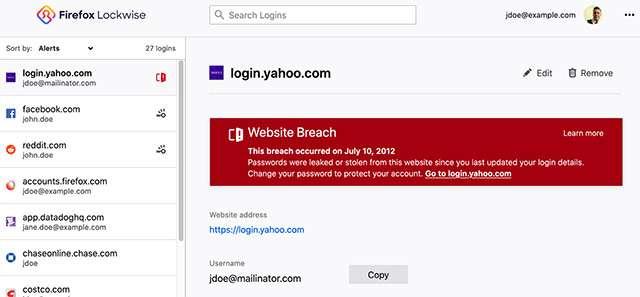 L'avviso di Lockwise per le password compromesse
