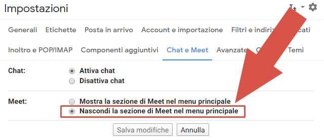 Come nascondere la scheda di Google Meet nell'interfaccia di Gmail