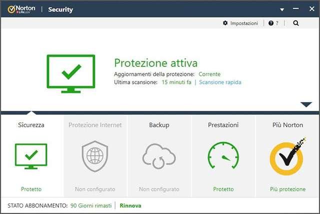 Una schermata di Norton AntiVirus Plus