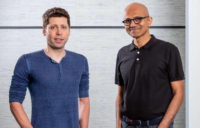 Sam Altman di OpenAI e Satya Nadella di Microsoft