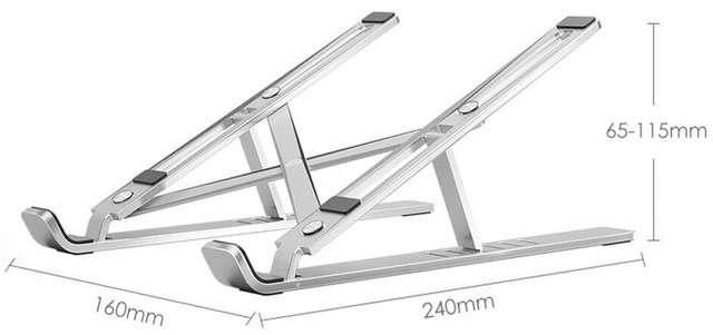 Il supporto in alluminio per laptop ad altezza regolabile