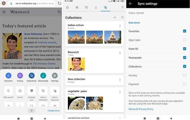 Le Raccolte di Edge nella beta di Android