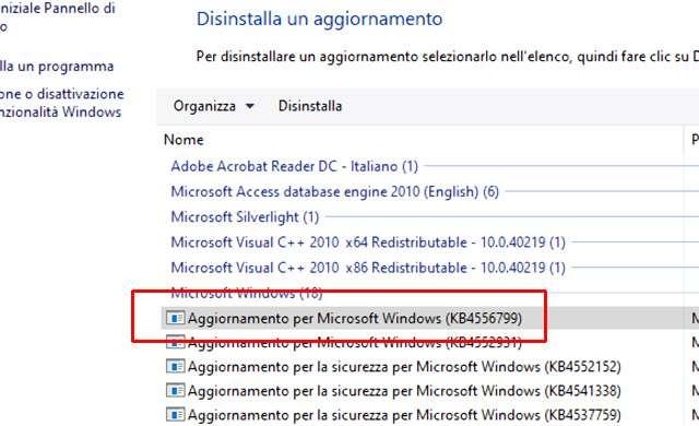 Windows 10: come disinstallare l'aggiornamento KB4556799