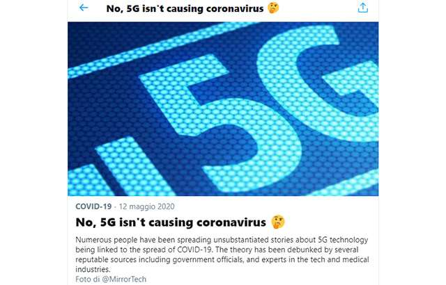 Il fact checking di Twitter su 5G e coronavirus
