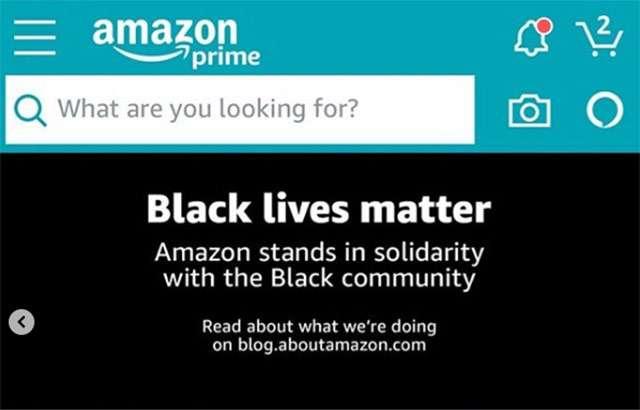 Il banner Black Lives Matter sulla homepage di Amazon