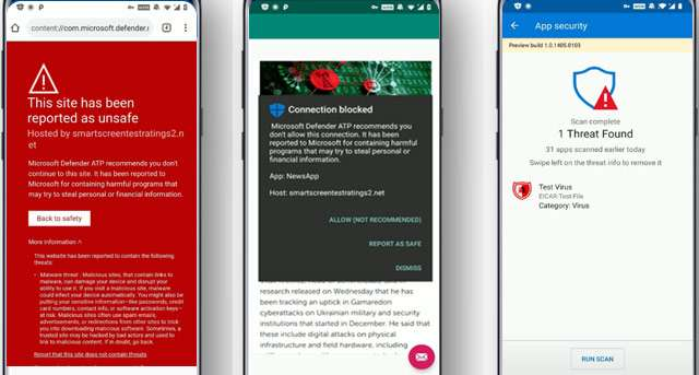 L'interfaccia di Microsoft Defender ATP for Android