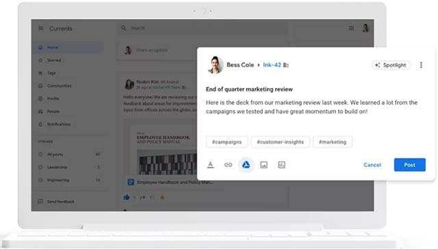 L'interfaccia di Currents, il nuovo social network di Google per le aziende