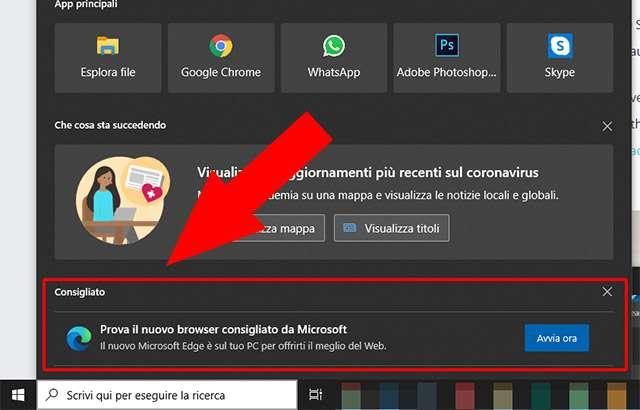L'invito di Microsoft a usare Edge come browser in Windows 10