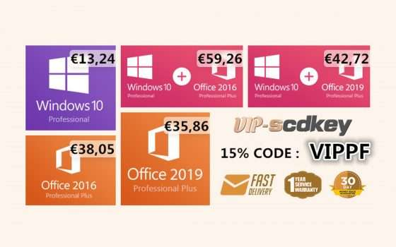 VIP-scdkey Summer Sale: Windows 10 PRO OEM €13, Office 2019 €35