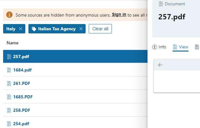 I documenti sul fisco italiano presenti nell'archivio BlueLeaks