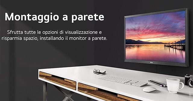 Il monitor LG 22MN430 montato a parete