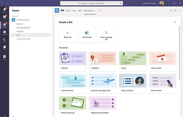 L'app Lists di Microsoft in Teams