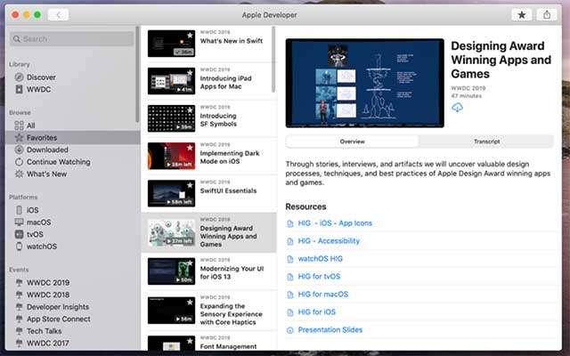 Il software Apple Developer nella versione MacOS