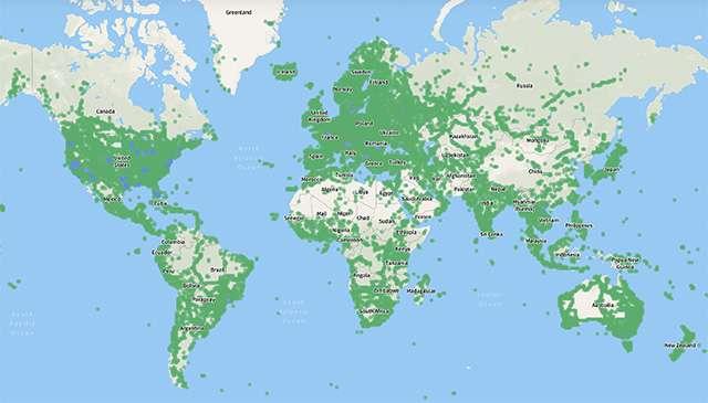 La copertura di Mapillary nel mondo