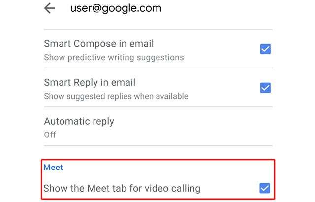 Le impostazioni relative a Google Meet nell'applicazione mobile di Gmail