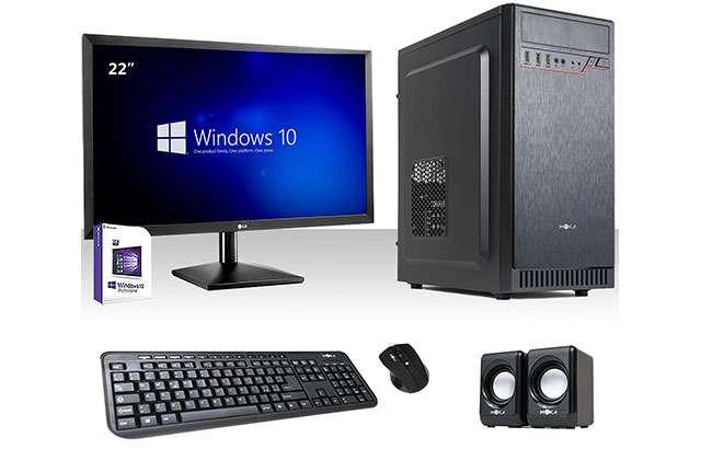 Un PC desktop per l'ufficio, completo di monitor
