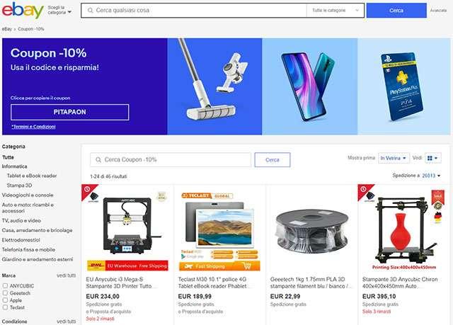 Il codice PITAPAON per lo sconto del 10% sugli acquisti da eBay