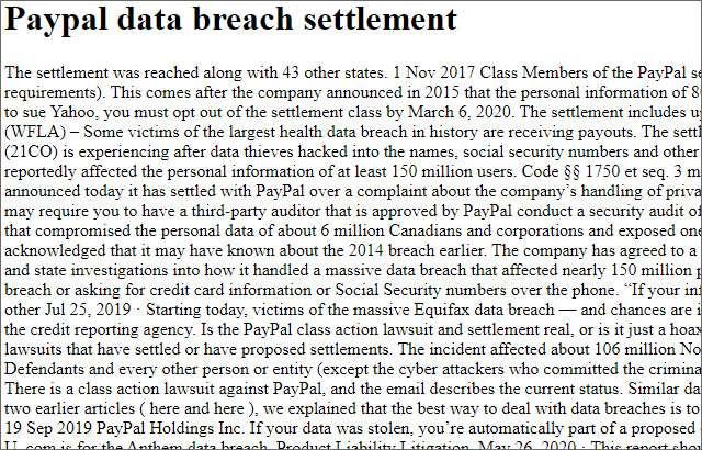 La pagina fittizia sul data breach di PayPal