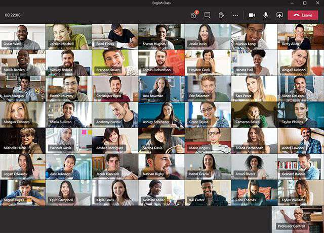 Microsoft Teams: il nuovo layout dell'interfaccia per visualizzare fino a 49 partecipanti alla riunione in contemporanea