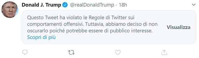 Il tweet di Trump a proposito delle manifestazioni