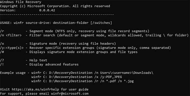L'utility Windows File Recovery di Microsoft