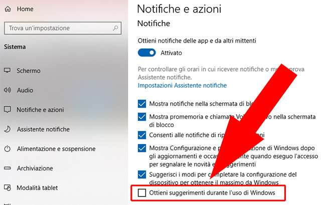 Come disabilitare i suggerimenti di Windows