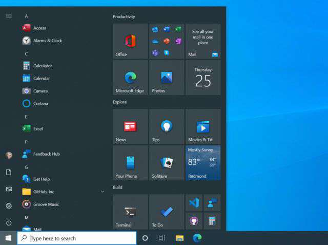 Windows 10: uno dei temi per il nuovo menu Start
