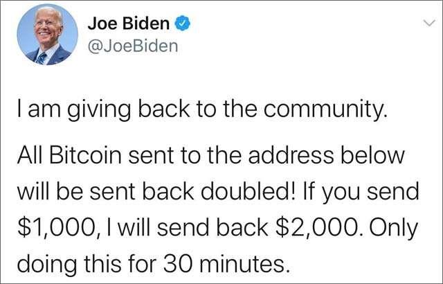 L'account Twitter di Joe Biden compromesso dall'attacco e il post della truffa