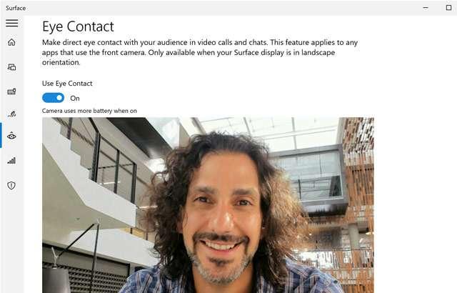 La funzionalità Eye Contact di Windows 10 per Surface Pro X