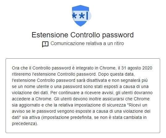 Estensione Controllo Password su Google Chrome