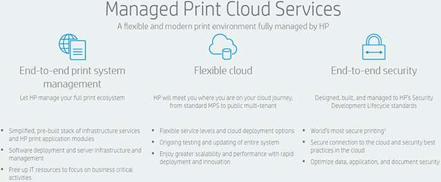 Le caratteristiche di HP Managed Print Cloud Services