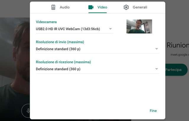 Google Meet: cambiare la risoluzione video