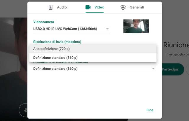 Google Meet: cambiare la risoluzione video in uscita