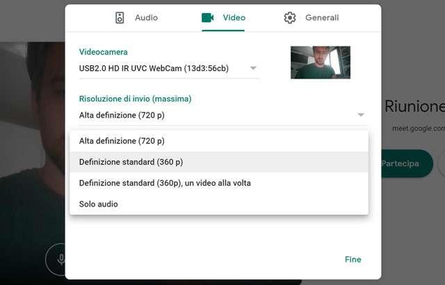 Google Meet: cambiare la risoluzione video in ingresso