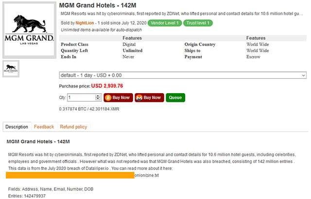 L'archivio con il leak di MGM in vendita sul Dark Web