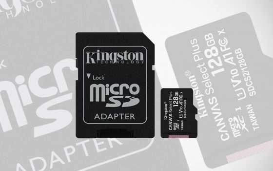 Solo 17 euro per la microSD di Kingston da 128 GB
