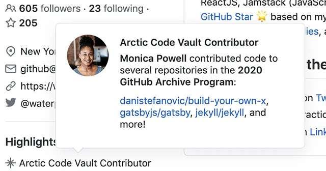 Il badge assegnato da GitHub agli sviluppatori che hanno preso parte al progetto