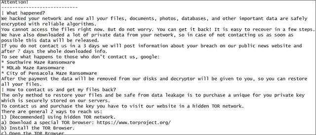Il messaggio lasciato a BleepingComputer dai presunti autori dell'attacco