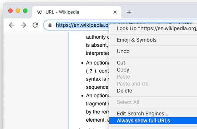 L'opzione per mostrare o nascondere gli URL interi su Chrome