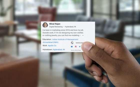 People Card, i biglietti da visita su Google