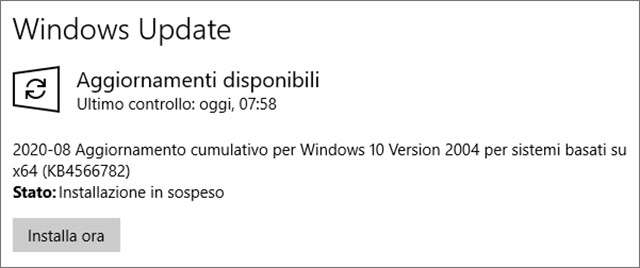 Windows 10, il Patch Tuesday di agosto 2020