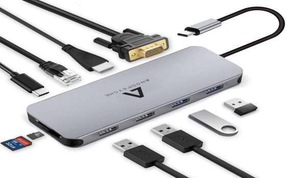 Hub USB-C 10 in 1: versatile e in sconto su Amazon