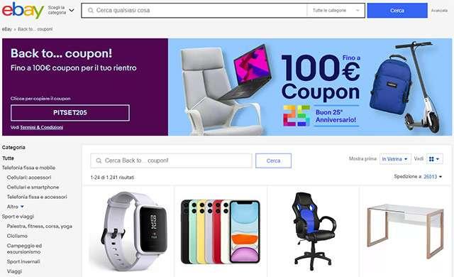 La promozione Back to... coupon di eBay
